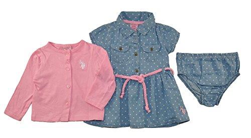 US Polo Assn Baby Girls Denim Dress & Cardigan, Prism Pink, 6/9M