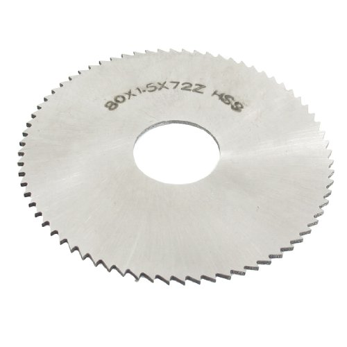 uxcell Hand Tool 72 Tooth Silver Tone HSS Slitting Saw 80mm x 22mm x 1.5mm
