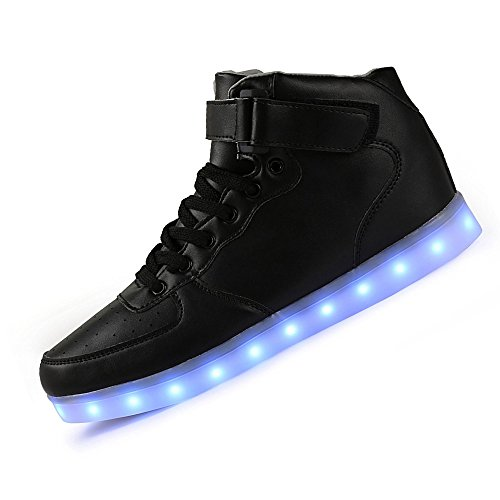 uruoi New Year Gifts [New Logo] 11 Lighting Effects High-Top Light Up Shoes LED Sneakers For Women Men Girls Boys Christmas Halloween Birthday Party 002 Black 40 (Halloween Party Logo)