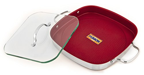 UPC 845586002112, Kevin Dundon SKD2GRILLRD Signature Square 11-Inch Grill Pan with Dual Handle and Glass Press, Red