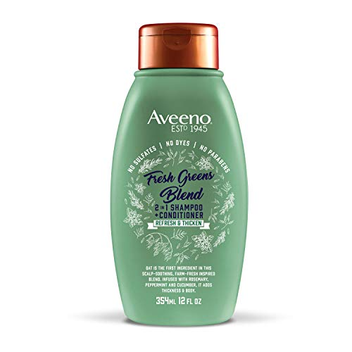 Aveeno Scalp Soothing Fresh Greens Blend 2-in-1 Shampoo + Conditioner for Volume, Thickness and Refresh, Sulfate Free, No Dyes or Parabens, 12 fl. oz