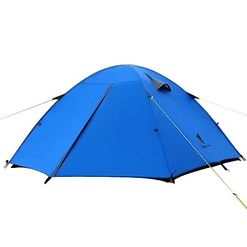 GEERTOP 2 Person Backpacking Tent 3-4 Season Double Layers Lightweight Free Standing Waterproof Large Family Backpack Travel Outdoor Hiking Hunting - Easy to Set Up Blue