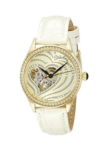 Stuhrling Original Women's 429.2235P31 Amour Aphrodite Temptation Automatic Skeleton Swarovski Crystals White Leather Strap Watch