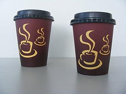 100 Pappbecher Kaffeebecher mit Deckel 0,2l Coffee to go Becher Trinkbecher