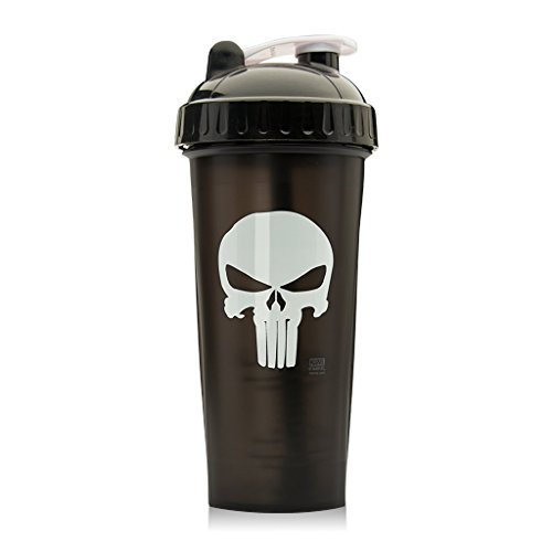 Performa Marvel Shaker - Original Series, Leak Free Protein Shaker Bottle with Actionrod Mixing Technology for All Your Protein Needs! Shatter Resistant & Dishwasher Safe (The Punisher)