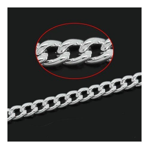 10 Metres Silver Plated Alloy 1.5 x 2mm Link-Soldered Curb Chain - (CH3040) - Charming Beads Something Crafty Ltd
