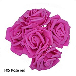 GSD2FF 10 Heads 5 Heads 8CM Artificial Rose Flowers Bridal Bridesmaid Bouquet Wedding Home Decoration Scrapbook DIY Supplies,Rose red,10 Heads 63
