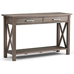 Simpli Home Kitchener Solid Wood Console Sofa Table, Distressed Grey