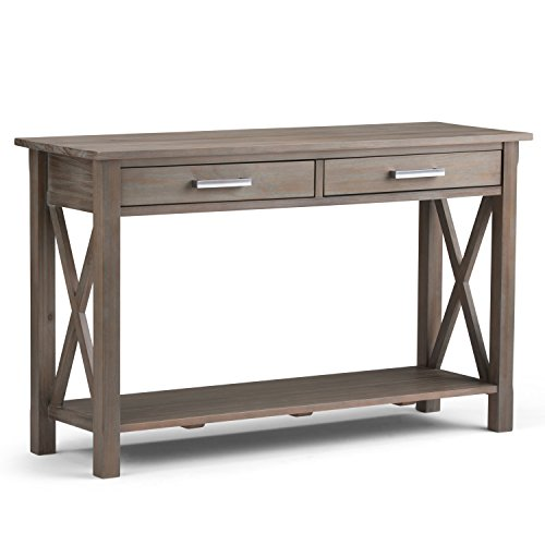 Distressed Finish Sofa Table - Simpli Home Kitchener Solid Wood Console Sofa Table, Distressed Grey