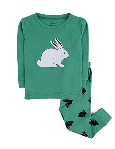 Leveret Kids Pajamas Bunny Rabbit Boys Girls 2 Piece Pajama Set 100% Cotton (Green,Size 4 Toddler)