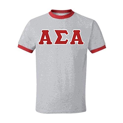 - Express Design Group Alpha Sigma Alpha Lettered Ringer Shirt XXX-Large Grey w/Red Trim
