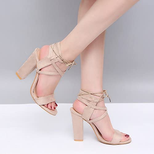 ZHZNVX Womens Shoes Synthetic Microfiber PU Spring Summer Slingback Basic Pump Ankle Strap Sandals Chunky Heel Open Toe Ribbon Tie for Dress