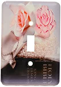 3dRose lsp_52223_1 Bible Art Beautiful Salmon Colored Roses and The Holy Bible Graphic Art Single Toggle Switch