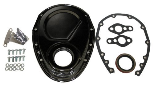 Chevy Small Block 283-305-327-350-400 Steel Timing Chain Cover Set w/ Timing Tab - Black CFR HZ-4934-PBK-SET