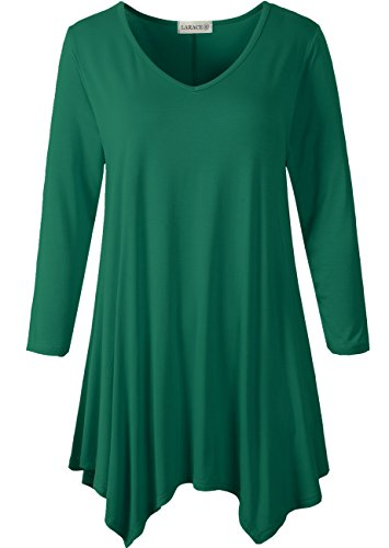 Larace Womens V Neck Plain Swing Tunic Top Casual T Shirt 1X  Deep Green
