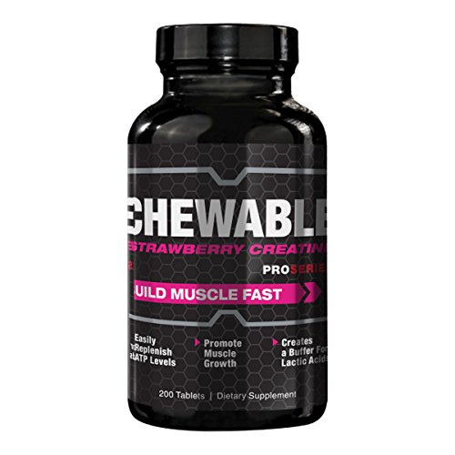 ProSeries Chewable Strawberry Creatine Muscle Gain, Growth and Recovery Supplement - 200 Tablets (Series Strawberry Pro)