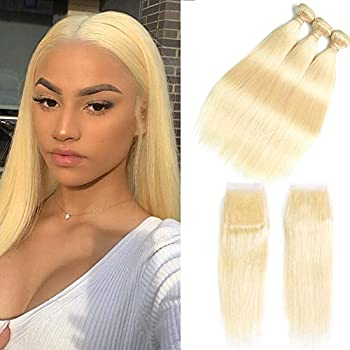 Image of Health and Household 613 Blonde Bundles With Closure 613 Platinum Blonde Human Hair 3 Bundles With Transparent Color Lace Closure 4x4 Brazlian Straight Remy Hair Extension Can Be Dyed (161820+14inch, bundles with closure)