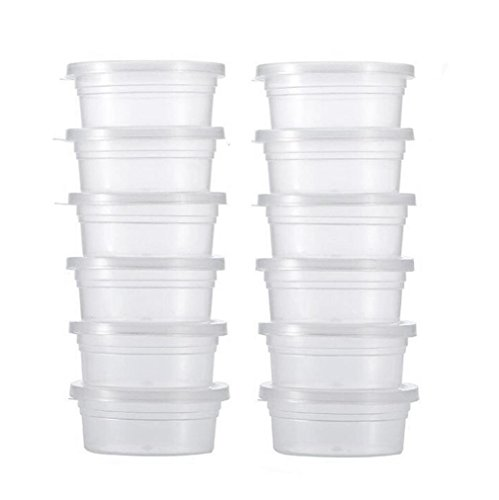 Slime Storage, Jujunx 12Pc Slime Storage Containers Foam Ball Storage Cups Containers With Lids (Clear)