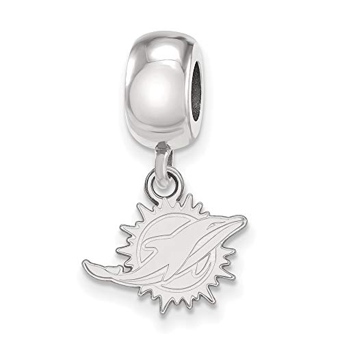 FB Jewels Solid 925 Sterling Silver Miami Dolphins Bead Charm Xs Dangle