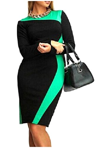 Color Coolred Mini Long Chic Fitted Women Bodycon Green Dress Splice Sleeve OqxwqaE