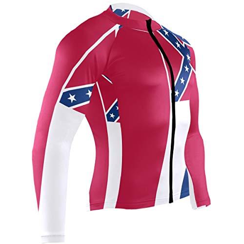 - Men's Cycling Jerseys Mississippi State Flag Quick Dry Bike Jacket Long Sleeve Shirt Tops Zipper Pockets