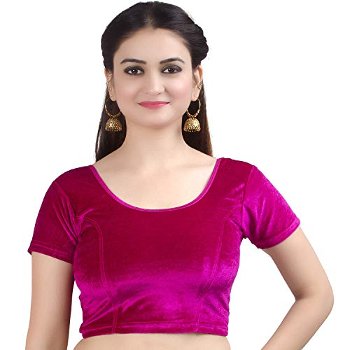 Saree Magenta - Chandrakala Women's Stretchable Readymade Velvet Magenta Indian Ethnic Saree Blouse Crop Top Choli-Small (B130MAG2)