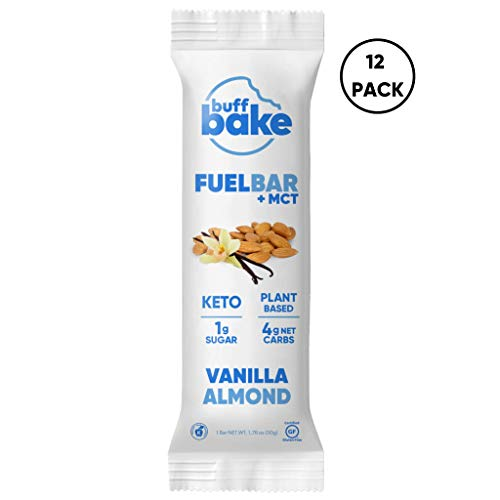 Buff Bake Keto Fuel Bar + MCT Oil – Ketogenic | Plant Based | Gluten Free | 12g of Protein | 1 Gram Sugar | 4 Gram Net Carbs | (12 Count, 50g) (Vanilla Almond, 12 Count)
