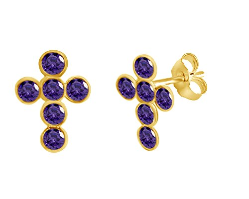 Simulated Amethyst Cross Stud Earrings 14K Yellow Gold Over Sterling Silver