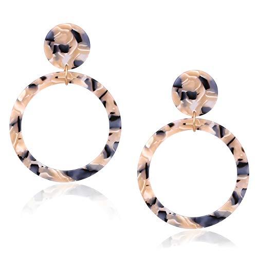 Acrylic Hoop Earrings Large Mottled Marble Circle Drop Dangle Earrings Tortoiseshell Round Stud Earrings for Women (Brown Floral) ()