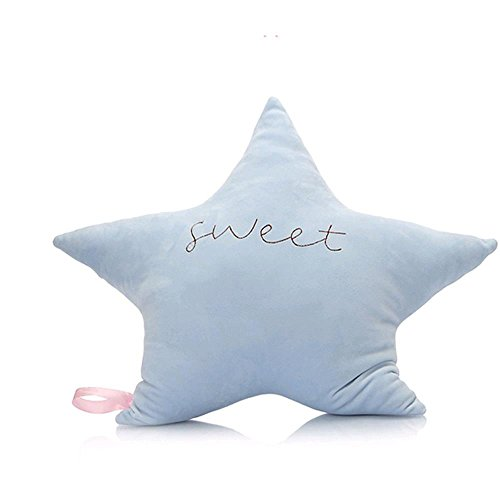 Chaplin Wong Creative Twinkle Star Moon and Smiling Cloud Accent Plush Pillows Stuffed Toys (Blue Star)