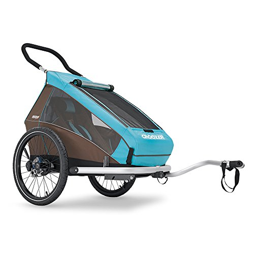 Croozer Premium Multisport Bike Child Trailer/Stoller/Jogger, The Kid Plus for 1 - for One Child - Sky Blue/Brown - Spring Suspension & Aluminum Frame