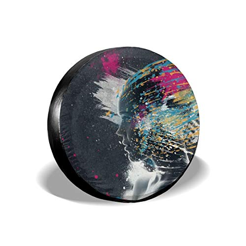 TY333 People Face Colorful Glitch Art Digital Paint Splatter Tire Cover Polyester Universal Vehicle Accessories