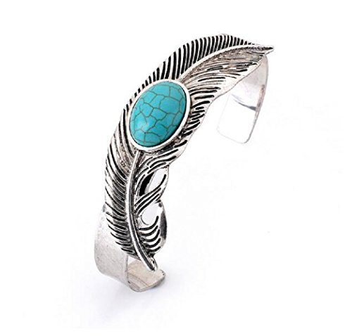 Yuriao Jewelry Feather Shape Natural Turquoise Bangle - King Charleston Street