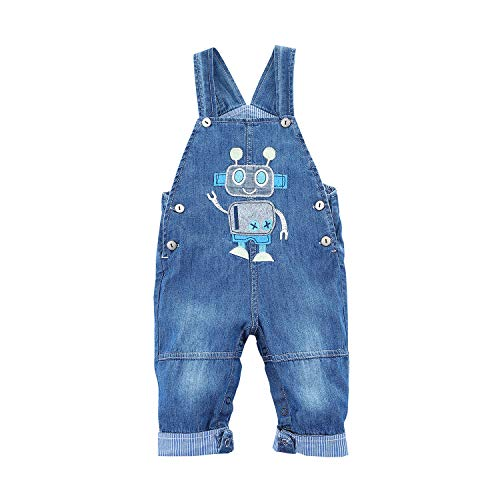 Baby Girl Embroidered Denim - BABYPEP Baby and Little Boys/Girls Jeans Jumpsuit Embroidered Cartoon Soft Denim Overalls Strap (6-9 Months, Robot)