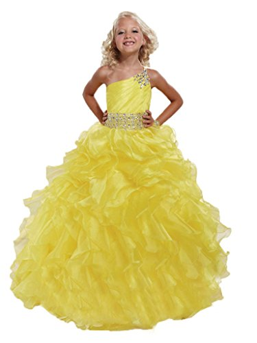 GreenBloom Girls' One-Shoulder Crystals Waistband Pageant Dresses Yelllow 12