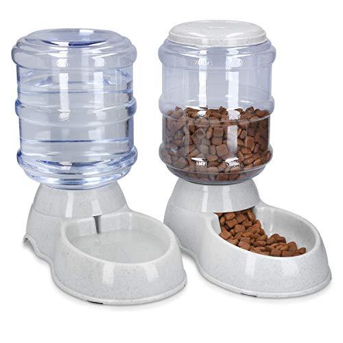 🥇 Navaris Dispensador automático de Comida y Agua – Comedero y Bebedero para Perros Gatos Animales – Dispensadores de pienso para Mascotas – 3.8 L c/u