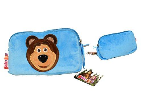 Masha e Orso pochette plush celeste Orso