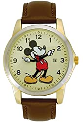 Disney MCK326 Mickey Mouse Unisex Gold Tone & Leather Classic Moving Hands Watch