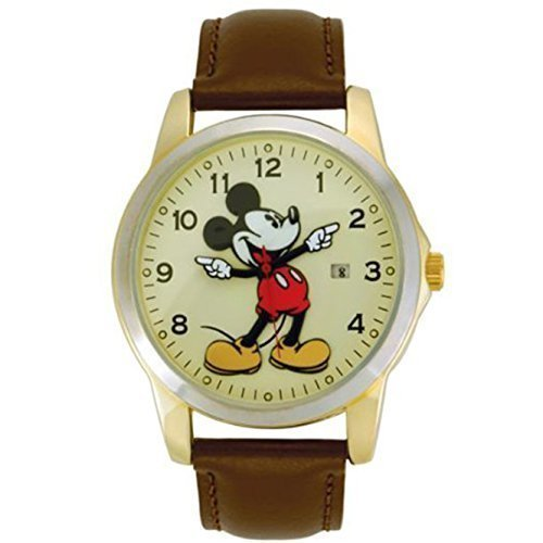 Disney MCK326 Mickey Mouse Unisex Gold Tone & Leather Classic Moving Hands Watch (Gold Tone Mouse Mickey)