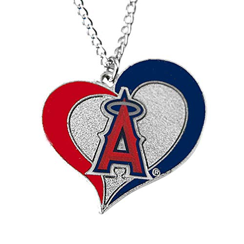 - aminco MLB Los Angeles Angels Swirl Heart Necklace