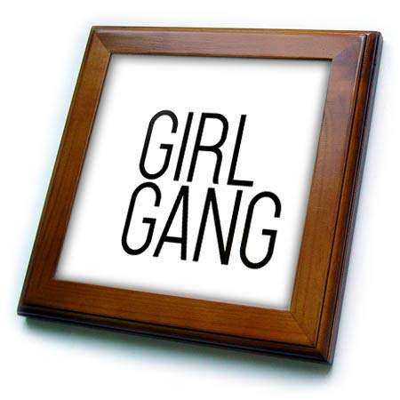 3dRose Tory Anne Collections Quotes - Girl Gang - 8x8 Framed Tile (ft_300999_1)