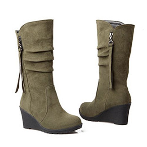 Ankle Heel Nonbrand Wedge Boots Green Synthetic Women's nzzOqWF