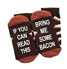 Wrap Your Feet in Bacon - Whether for yourself or a friend, our top quality Bacon Socks are sure to catch some attention and bring a smile to your face.  One Size Fits Most - Fits US shoe sizes 6-12  Satisfaction Guarnateed - We've got your b...