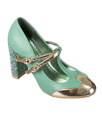 Banned Apparel Modern Love Retro Glitter Heels Shoes Pumps Aqua/Gold