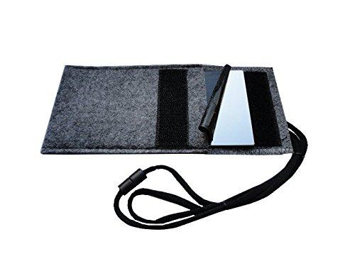 Taschenspiegel aus hochwertigem Edelstahl (unzerbrechlich) mit einem praktischen u. formschönen Filzetui