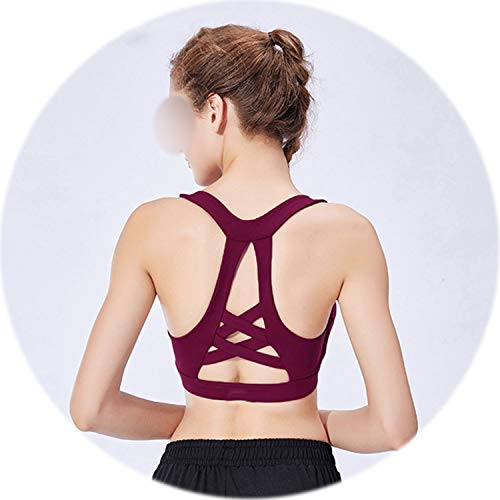 High Impact Sports Bra Seamless Women Padded Push Up Fitness Gym Yoga Sport Bras Crop Tank Top,Red,M (Wire Hubcap)