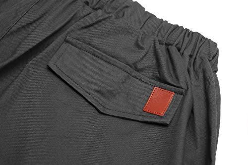 Pants Cindeyar Tasche Di Grigio Elastici Trousers Coulisse Pantaloni Casual Con Maschi Lunghi Sport Cargo Scuro Della Uomo Laterali 7rAx7wYqB