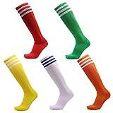VWU 3 Pairs Unisex Knee High 3 Three Stripes Athletic Soccer Football Tube Socks (Small, Red Green White Yellow Orange)
