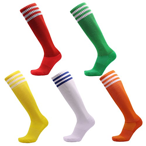 VWU 3 Pairs Unisex Knee High 3 Three Stripes Athletic Soccer Football Tube Socks (Large, Red Green White Yellow Orange)