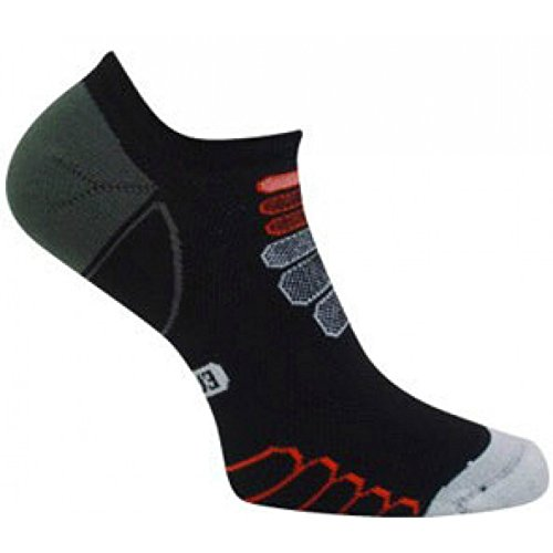 Eurosocks 234175 Performance Sprint Silver DryStat  Ultralight Weight Ghost Socks, Black/White, X-Large